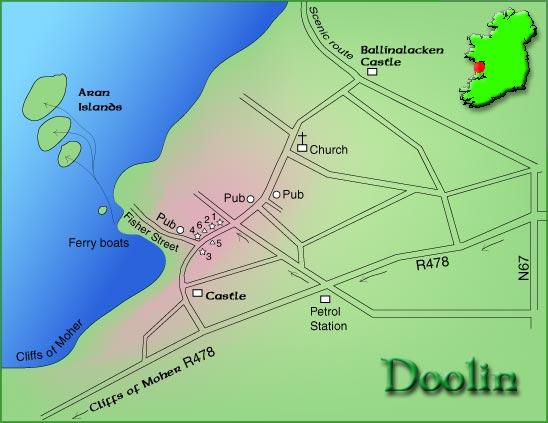 Map Of Ireland Doolin.Doolin Co Clare Ireland Town Map
